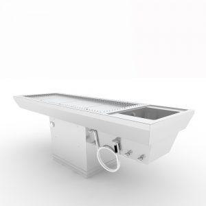 Seziertisch, mit elektr. Höhenverstellung, Absaugung und Waschbecken